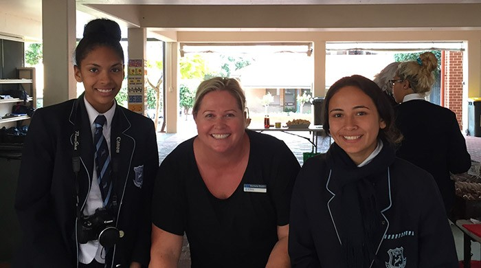 Rochelle Rankin (centre) and the girls at Iona Presentation College.