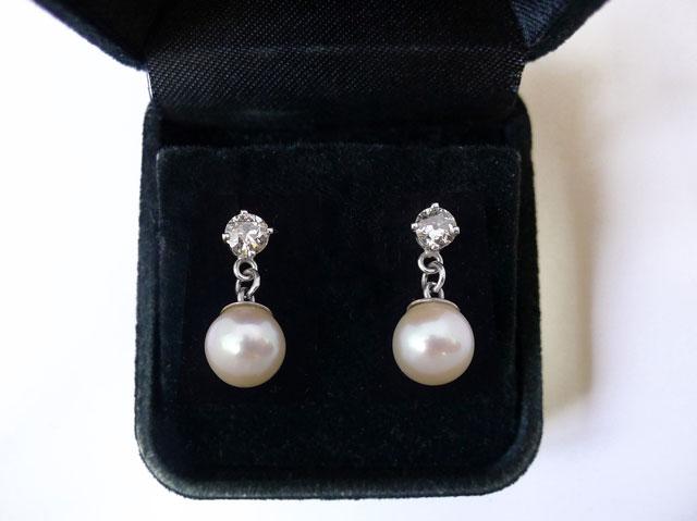 White Gold Pearl Diamond Earrings