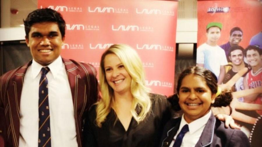 Yarlalu Nanmurr Thomas and Tallulah Biendurry with Madalah's Angela Murphy.